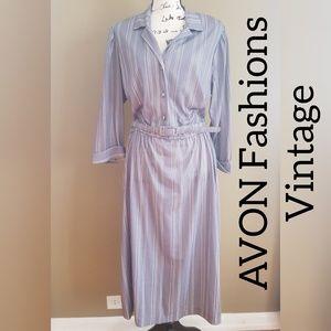 Avon Fashions Vintage Gray Striped Dress size M